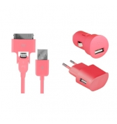 Pack de charge 3 en 1 Colorblock Bubble Gum pour iPhone et telephones micro USB
