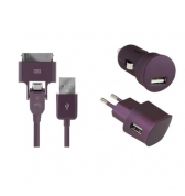 Pack de charge 3 en 1 Colorblock Deep Purple pour iPhone et telephones micro USB