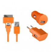 Pack de charge 3 en 1 Colorblock Orange pour iPhone et telephones micro USB
