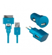 Pack de charge 3 en 1 Colorblock Blue Lagoon pour iPhone et telephones micro USB