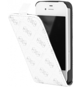Etui &agrave; rabat 4G imprim&eacute;s en silver. Blanc iPhone 4/4S