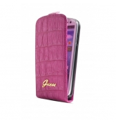 Etui à rabat finition croco. Rose Galaxy SIII Mini