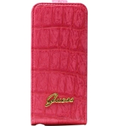 Etui à rabat finition croco. Rose IPHONE 5