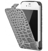 Etui à rabat finition croco glossy. Gris iPhone 4/4S