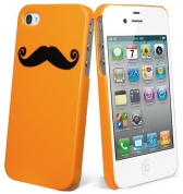 Picktogram Coque pour iPhone 4 & 4S - Orange/Moustache