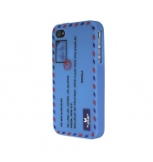 coque silicone enveloppe bleue clair iPhone 4/4S