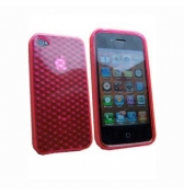 Coque silicone rouge transparente cube diams iPhone 4