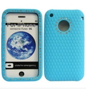 Housse silicone diamant bleu iphone 3g 3gs