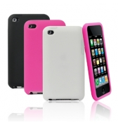 MUVIT PACK 3 SILICONE IPOD TOUCH 4 : NOIR, ROSE, BLANC ET SCREEN