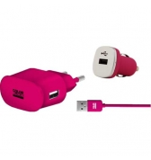Pack charge 3 en 1 Colorblock rose metal pour iPhone/iPod