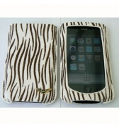 Etui MacLove fourrure zébrée marron blanc iphone 3g 3gs